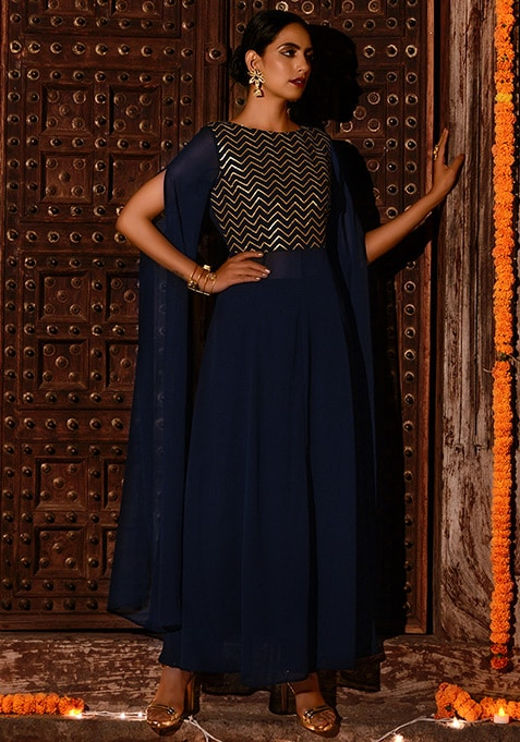 Navy Chevron Embroidered Yoke Georgette Tunic