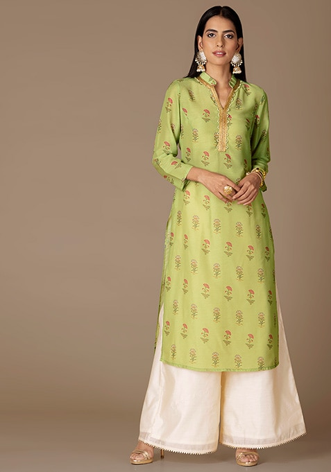 Mint Botanical Straight Kurta