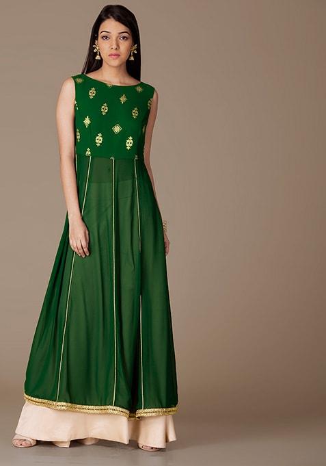 Green Foil Georgette Kalidar Maxi Kurta