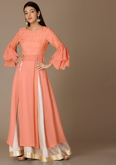 Peach Foil Bell Sleeved Maxi Tunic