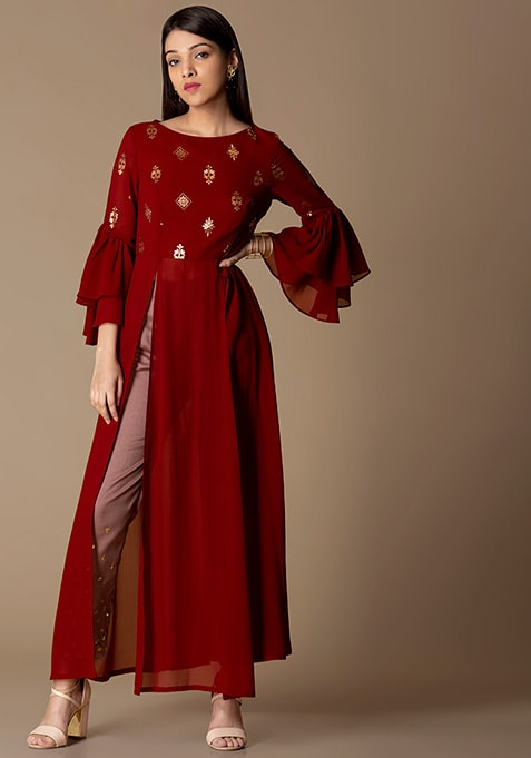 Oxblood Rose Foil Bell Sleeved Tunic