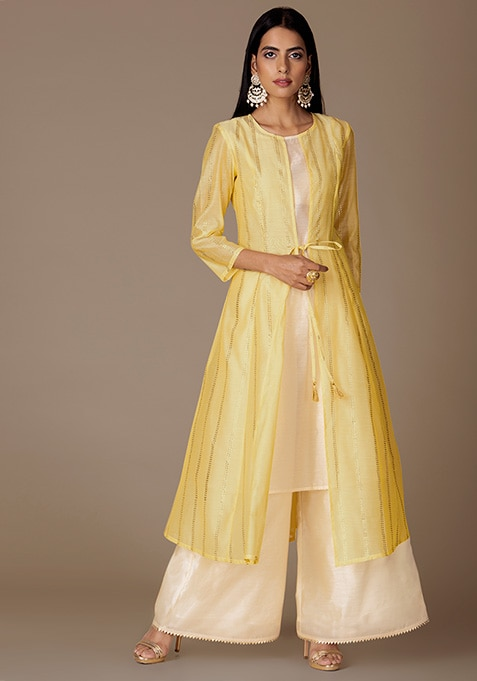 Yellow Foil Chanderi Jacket With Beige Tunic