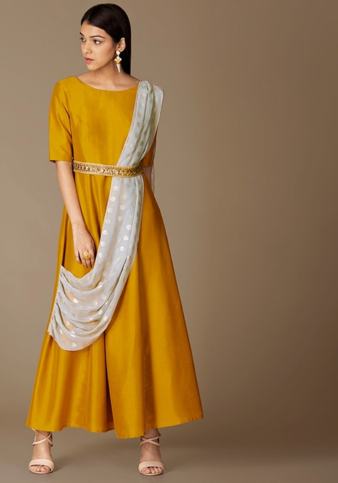 Mustard Belted Tunic With Attached Grey Dupatta
