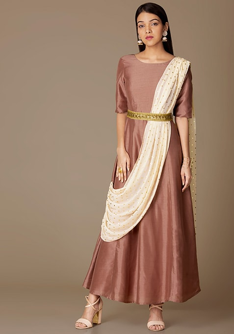 Rose Belted Tunic With Attached Ivory Dupatta