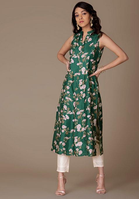 Green Floral Mandarin Collar Anarkali Tunic