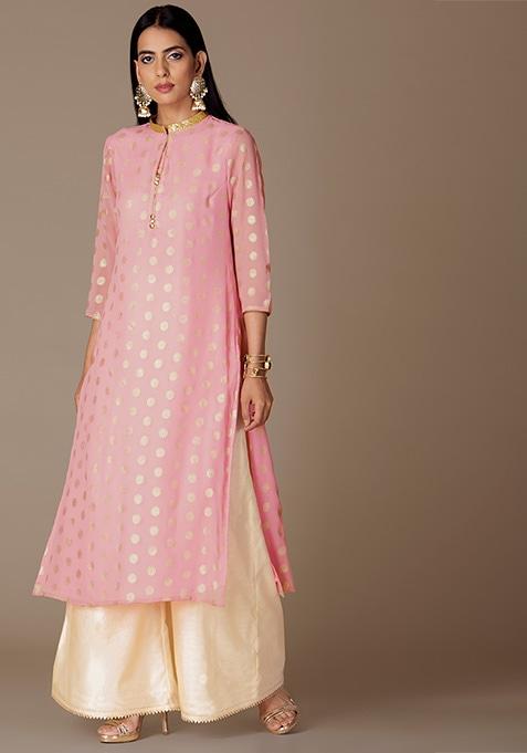 Light Pink Foil Georgette Straight Kurta