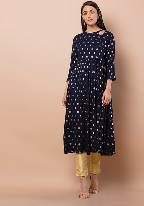 Navy Foil Printed Keyhole Tunic