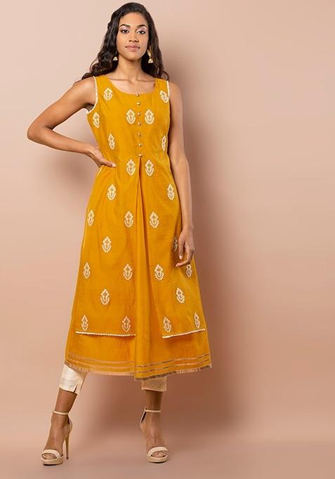 Mustard Embroidered Layered Chanderi Tunic