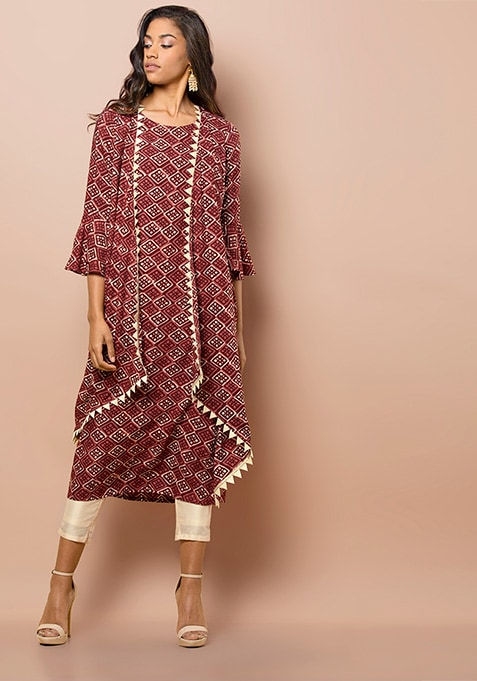 Maroon Layered Tunic With Triangular Lace