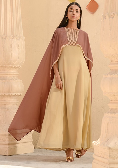 Beige Pink Sequin Embroidered Cape Maxi Tunic