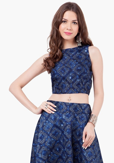 Abstract Ace Silk Crop Top