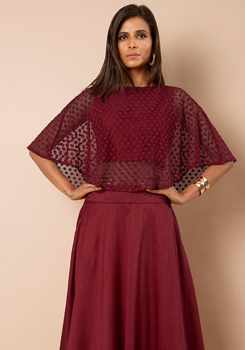 Oxblood Embroidered Cape Top