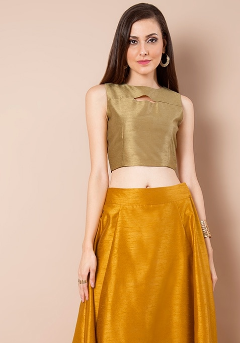 Peek-a-Boo Silk Crop Top - Gold