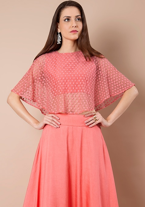 Coral Embroidered Cape Top