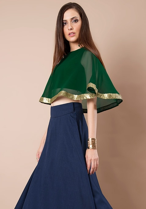 Green Georgette Cape Top