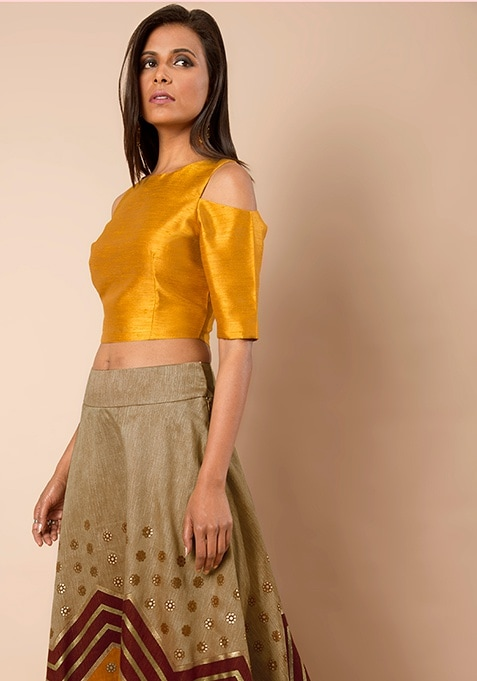 Cold Shoulder Silk Crop Top - Mustard