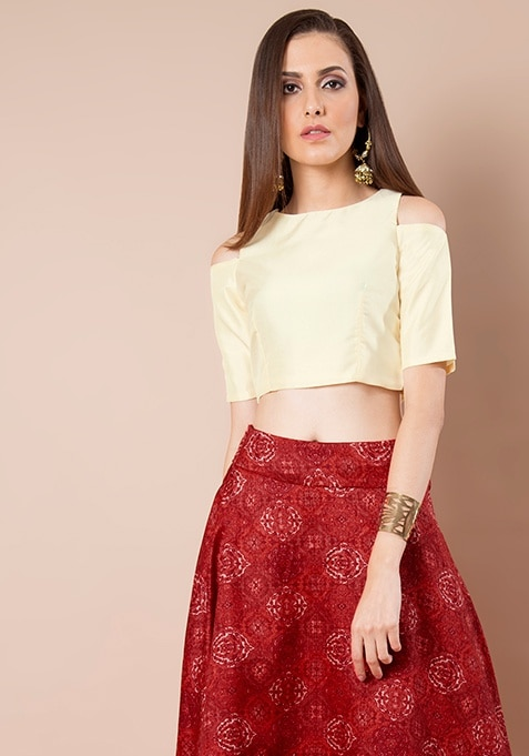 Cold Shoulder Silk Crop Top - Ivory