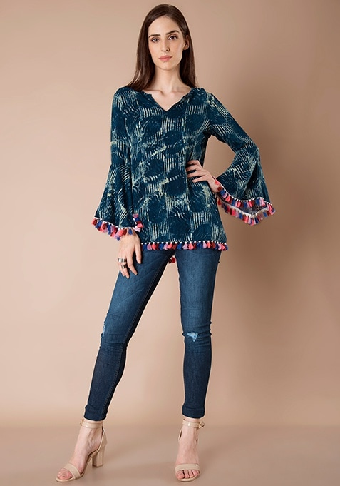 Bell Sleeve Long Top - Navy Motif