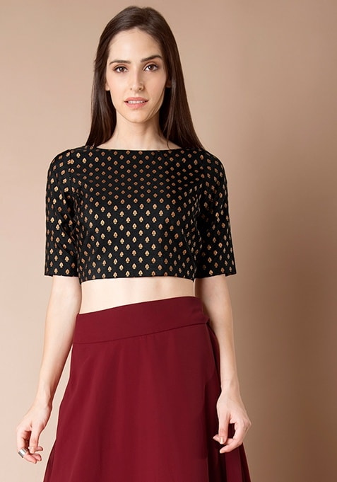 Silk Crop Top - Black Brocade