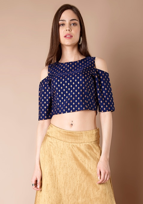 Navy Foil Print Cold Shoulder Crop Top