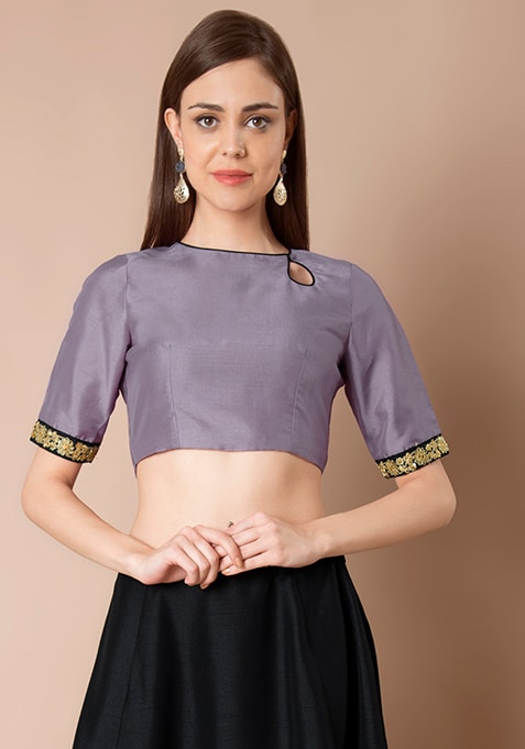 Eyelet Silk Crop Top - Lavender