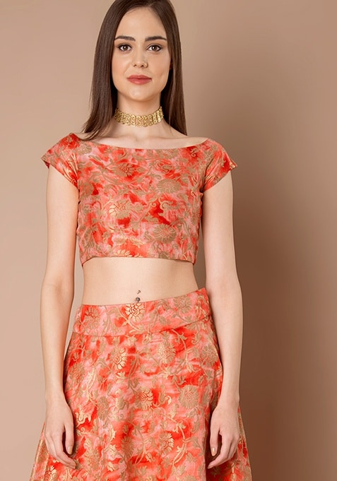 Boat Neck Silk Crop Top - Red Foil
