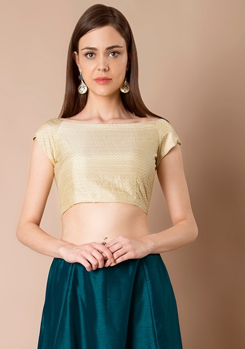 Cap Sleeve Silk Crop Top - Beige