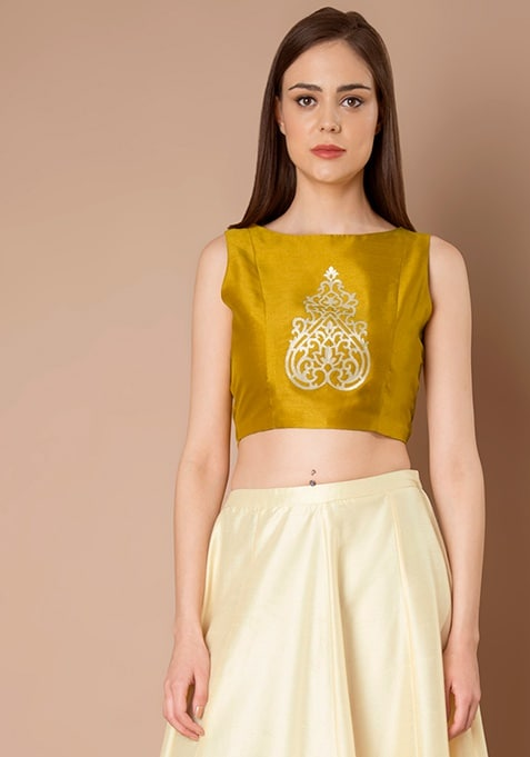 Laser Cut Silk Crop Top - Mustard
