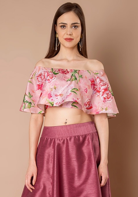 Off Shoulder Silk Crop Top - Pink Vivid Floral