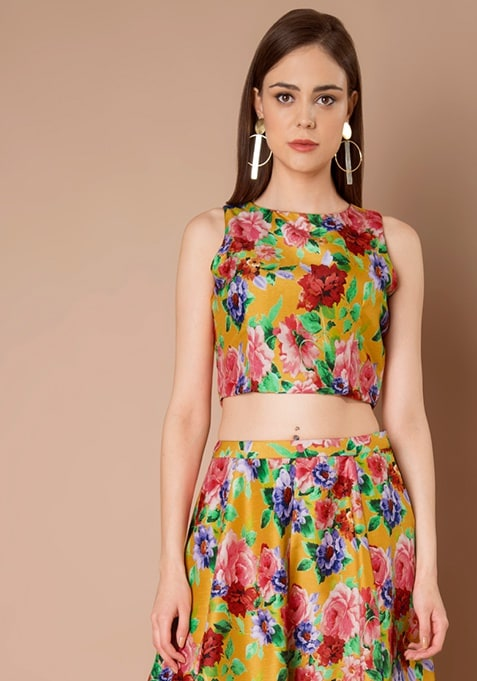 Mustard Floral Silk Crop Top