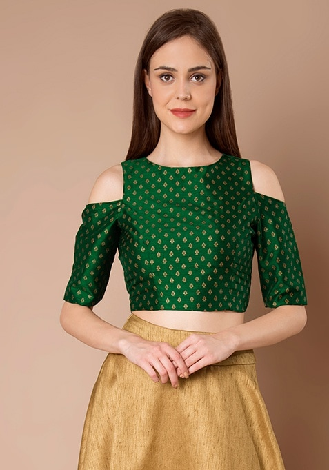 Cold Shoulder Silk Crop Top - Green Foil