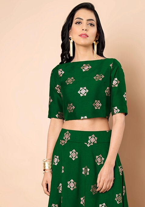 Foil Print Green Silk Crop Top