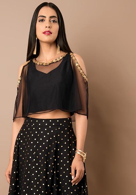 Black Embellished Silk Cape Top