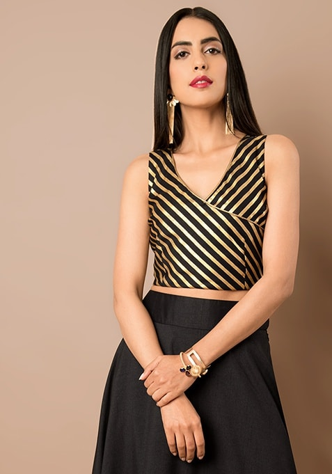 Black Striped Angrakha Style Silk Crop Top