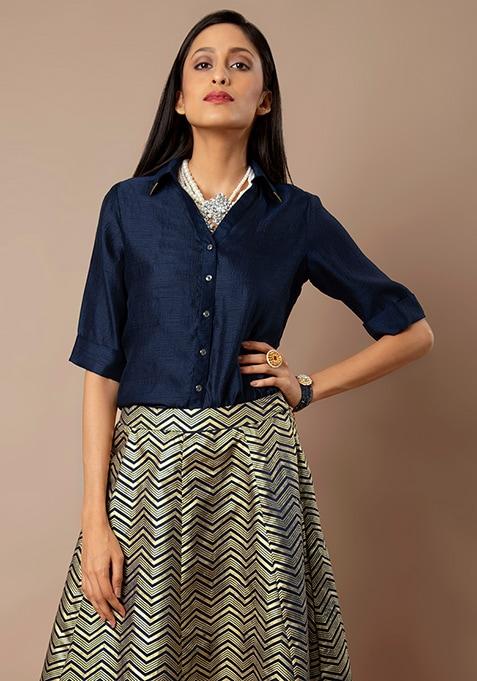 Navy Gold Collar Satin Shirt