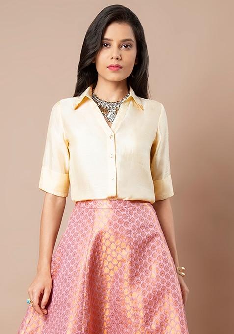 Ivory Gold Collar Satin Shirt