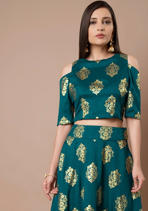 Teal Foil Cold Shoulder Silk Crop Top