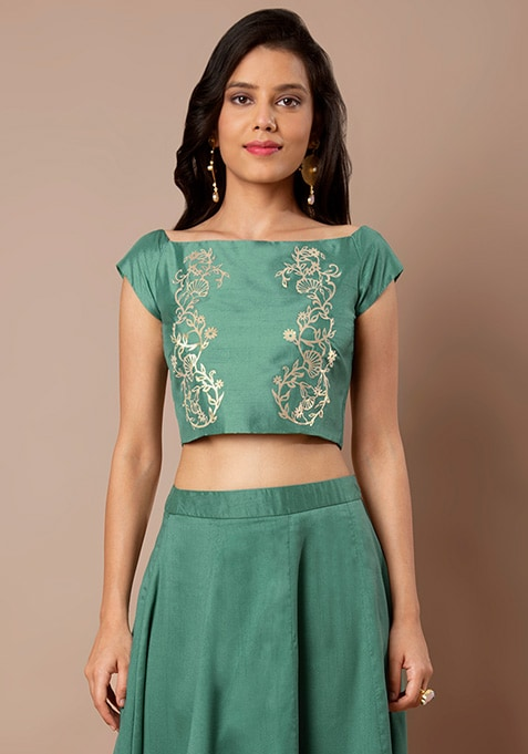 Jade Embellished Boat Neck Crop Top