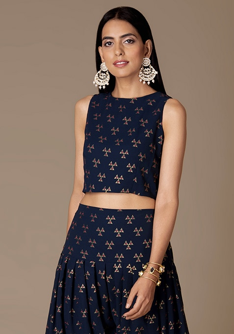 Navy Triangle Foil Sleeveless Crop Top