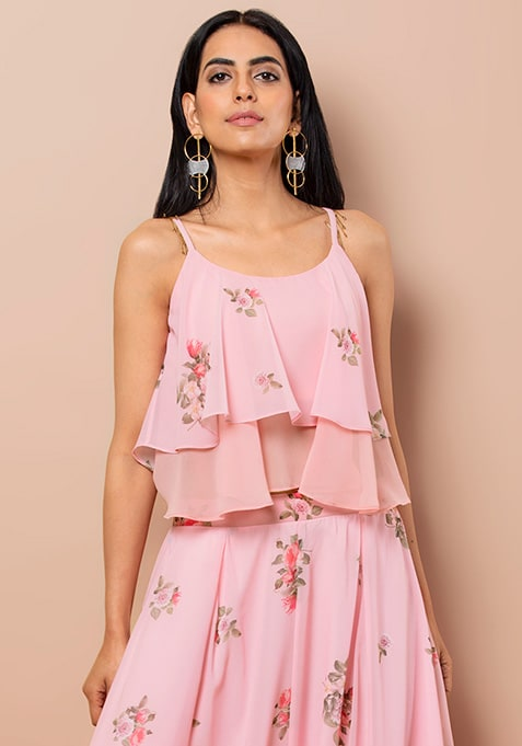 Pink Floral Layered Cami