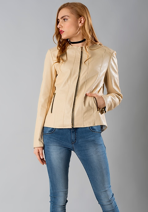 Leather Front Zip Jacket - Beige
