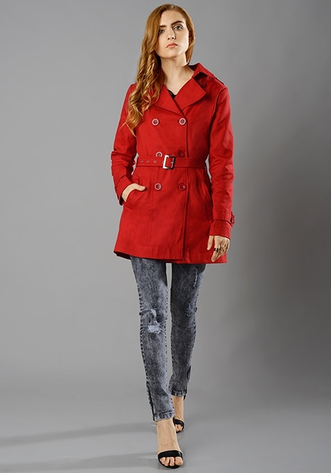 Red Raid Trench Coat