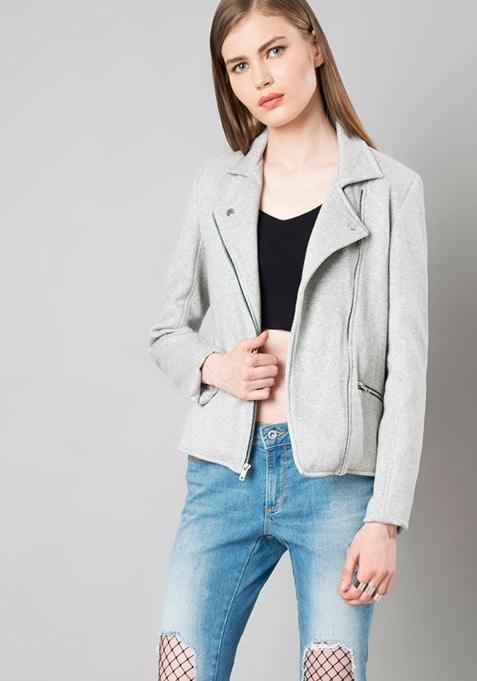 Spread Collar Jacket - Grey