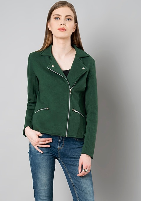 Spread Collar Jacket - Bottle Green
