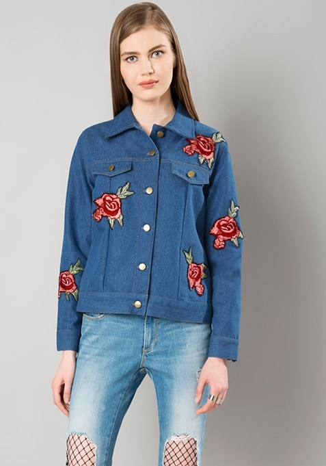 Embroidered Denim Jacket - Medium Wash