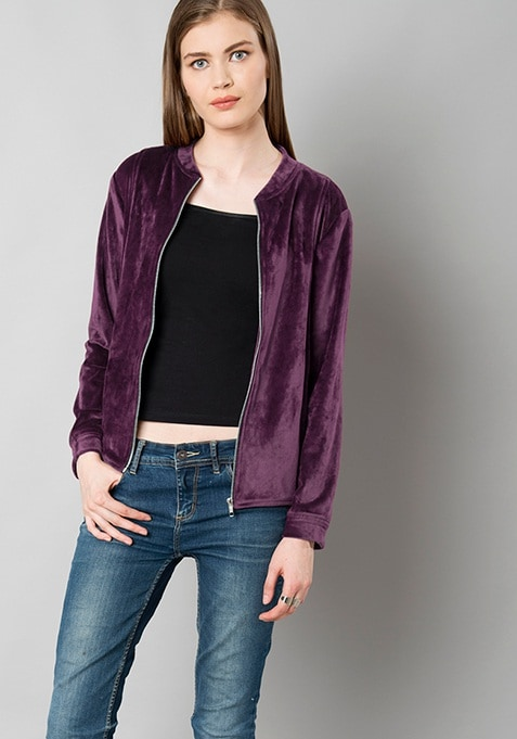 Zipped Velour Jacket - Wine