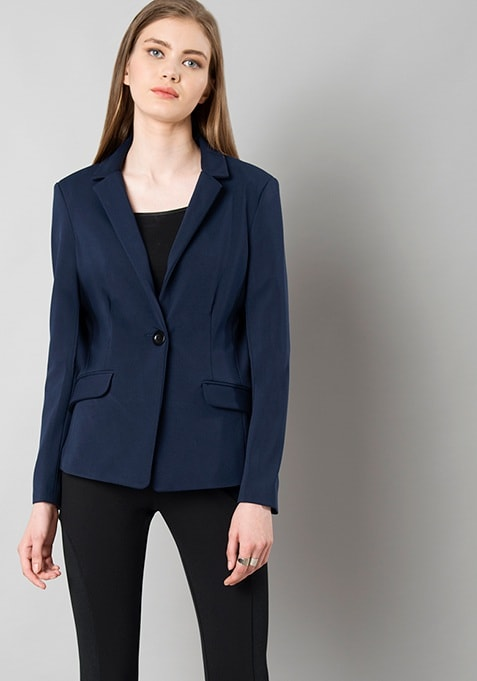 Notched Lapel Blazer - Navy