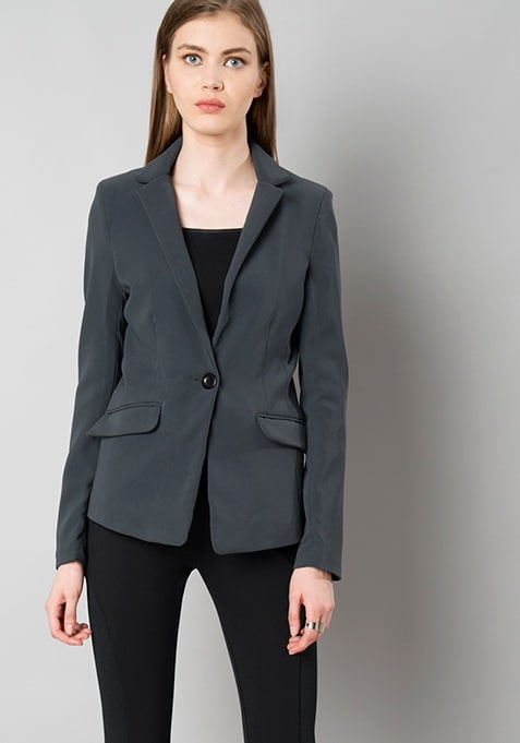Notched Lapel Blazer - Grey