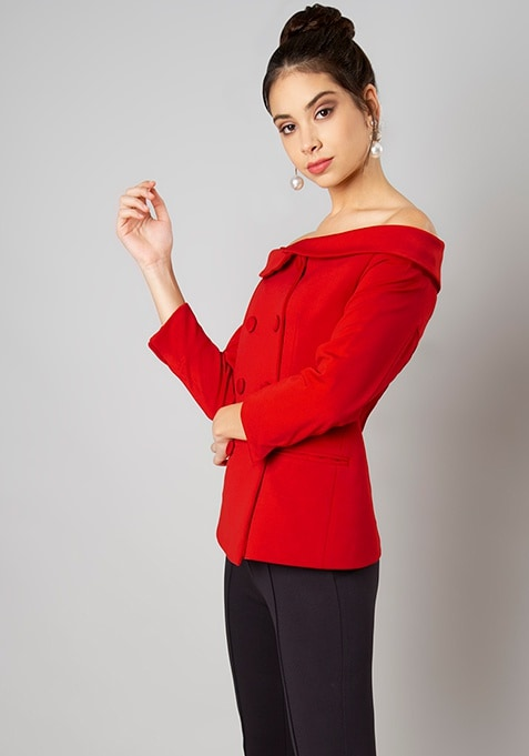 Red Double Breasted Bardot Blazer