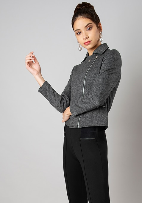 Black Notch Lapel Fleece Biker Jacket